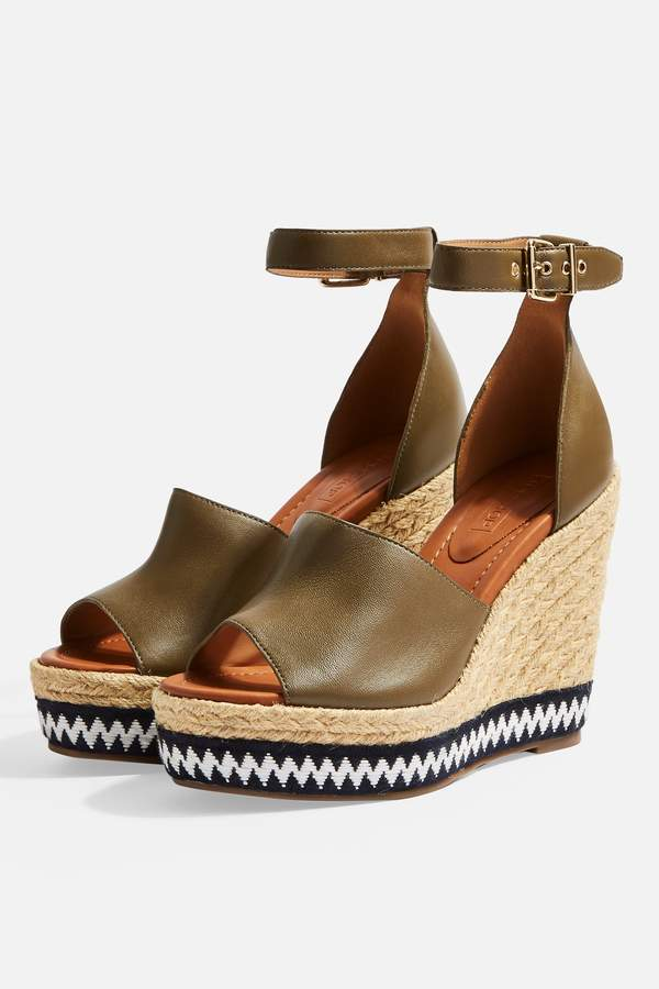 Topshop Womens Wing Wedges - Khaki