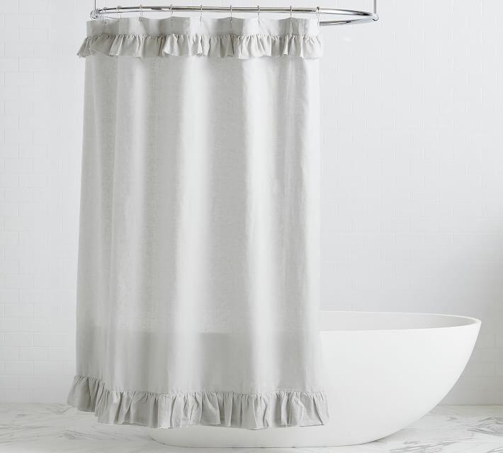 belgian flax linen ruffle shower curtain
