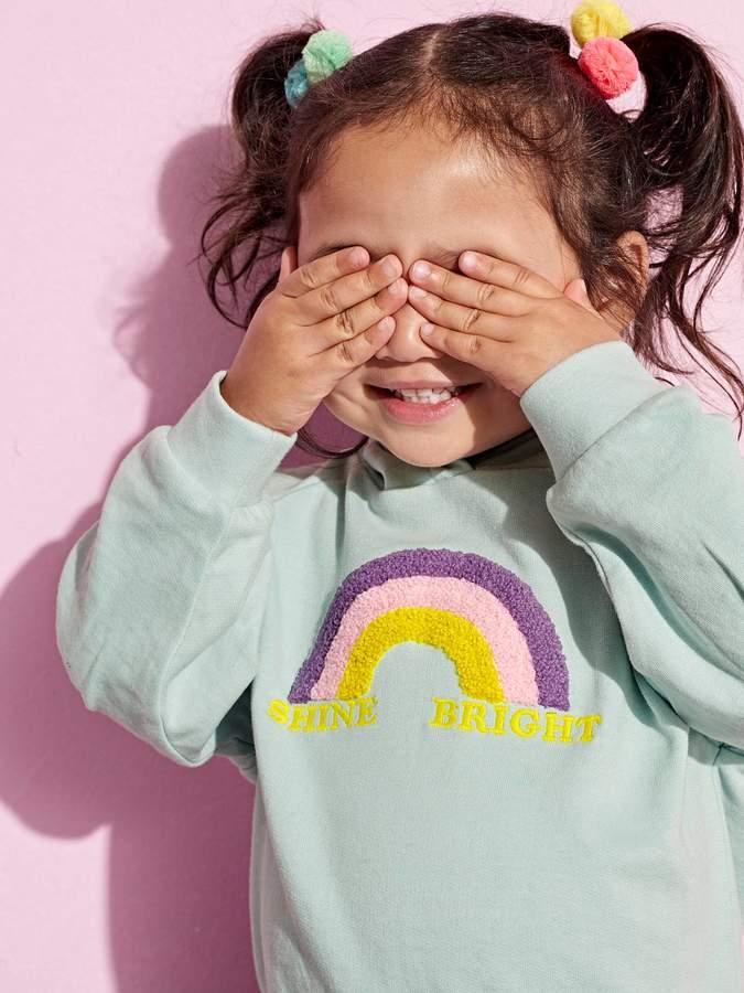 Vertbaudet Sweatshirt with Hood and Rainbow for Girls