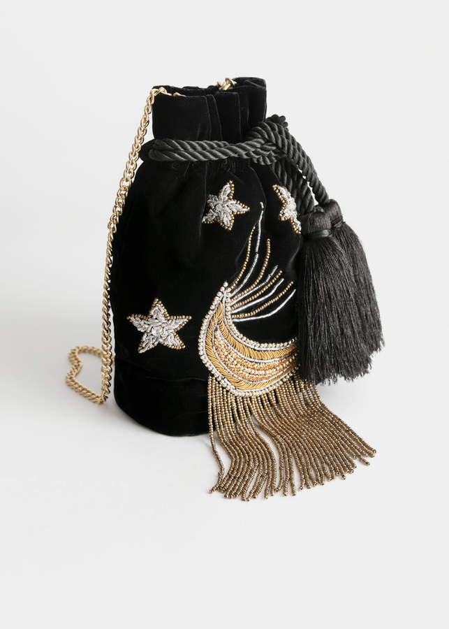 And other stories Embroidered Moon Crossbody Velvet Bag
