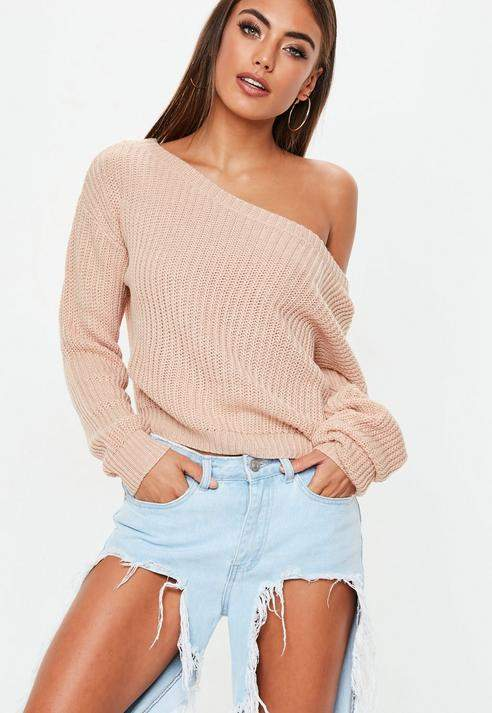 Nude Off Shoulder Cropped Knitted Jumper, Beige
