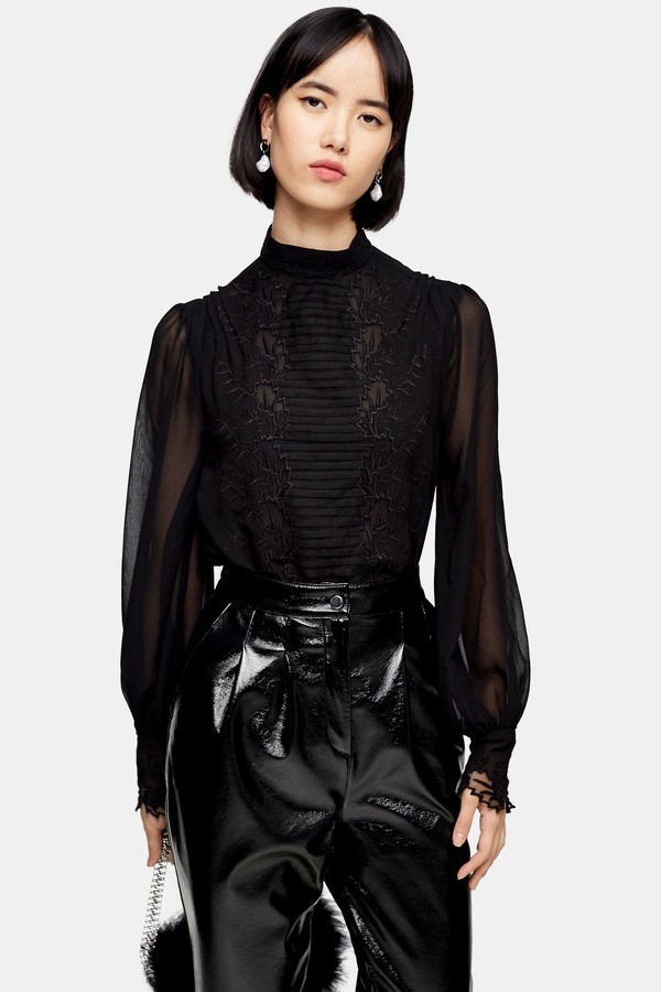 Womens Idol Black Embroidered Cutwork Blouse - Black