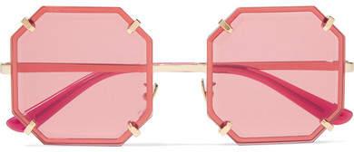 Dolce & Gabbana - Square-frame Gold-tone Sunglasses - Red
