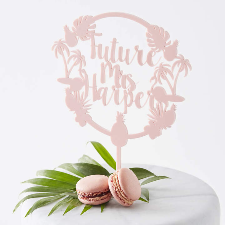 Sophia Victoria Joy Personalised Tropical Hen Party Cake Topper