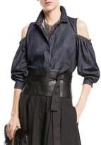 Brunello Cucinelli Button-Front Cold-Shoulder Denim Blouse