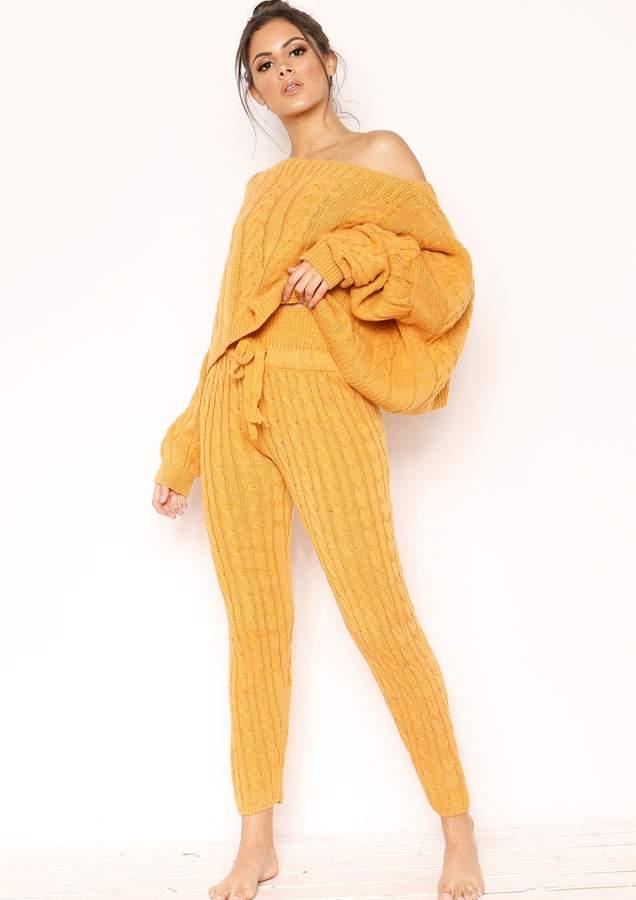 Nadene Mustard Knit Leggings
