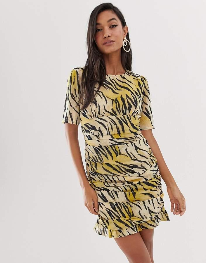Asos Design ASOS DESIGN ruched side mini dress in natural tiger print