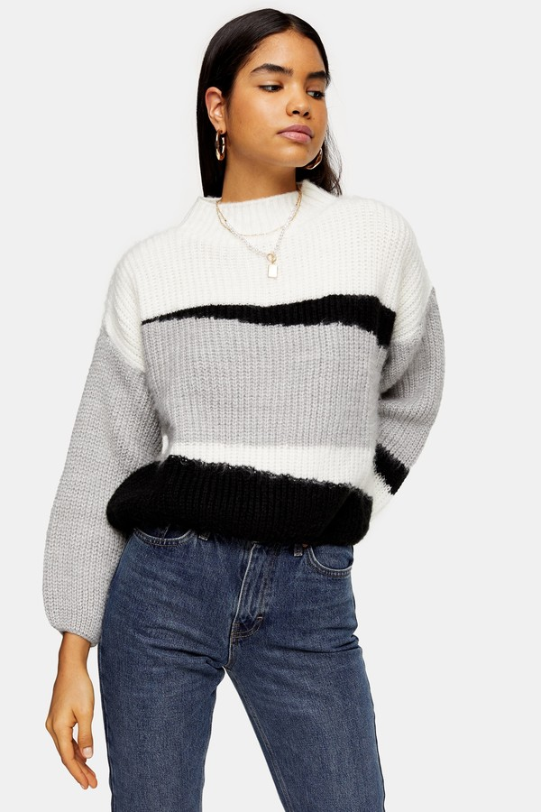 Womens Knitted Colour Block Cropped Jumper - Multi