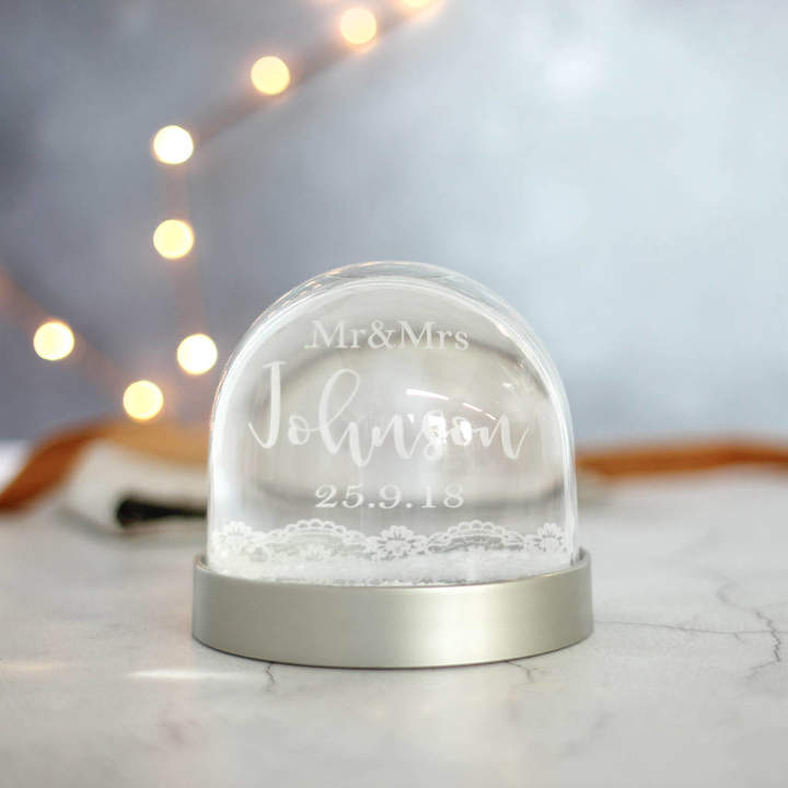Rocket and Fox Personalised Wedding Snow Globe