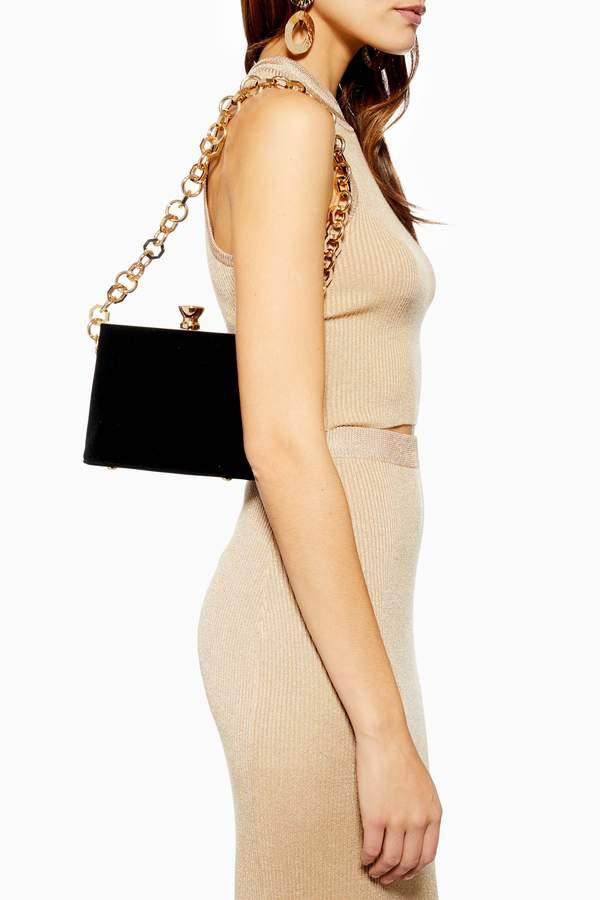 Topshop Womens Margot Black Velvet Frame Bag - Black