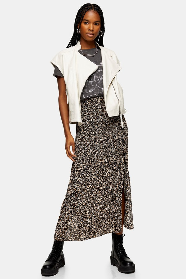 Womens Leopard Side Button Pleated Midi Skirt - Brown