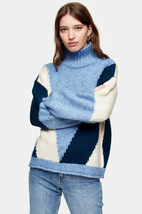 Topshop Womens Blue Knitted Colour Block Jumper - Blue