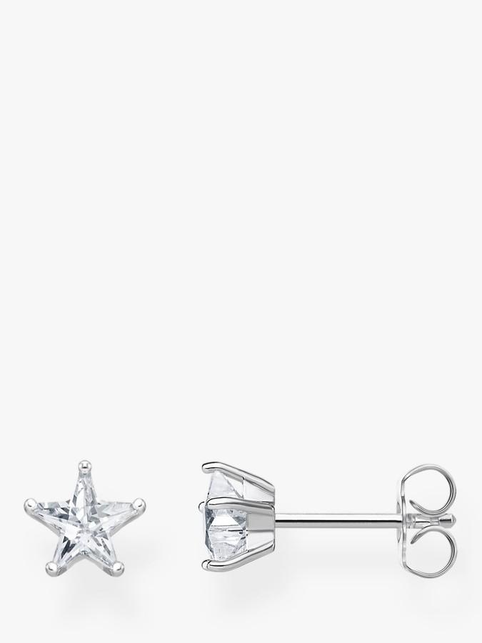 THOMAS SABO Cubic Zirconia Star Stud Earrings, Silver