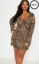Plus Tan Leopard Cold Shoulder Shift Dress