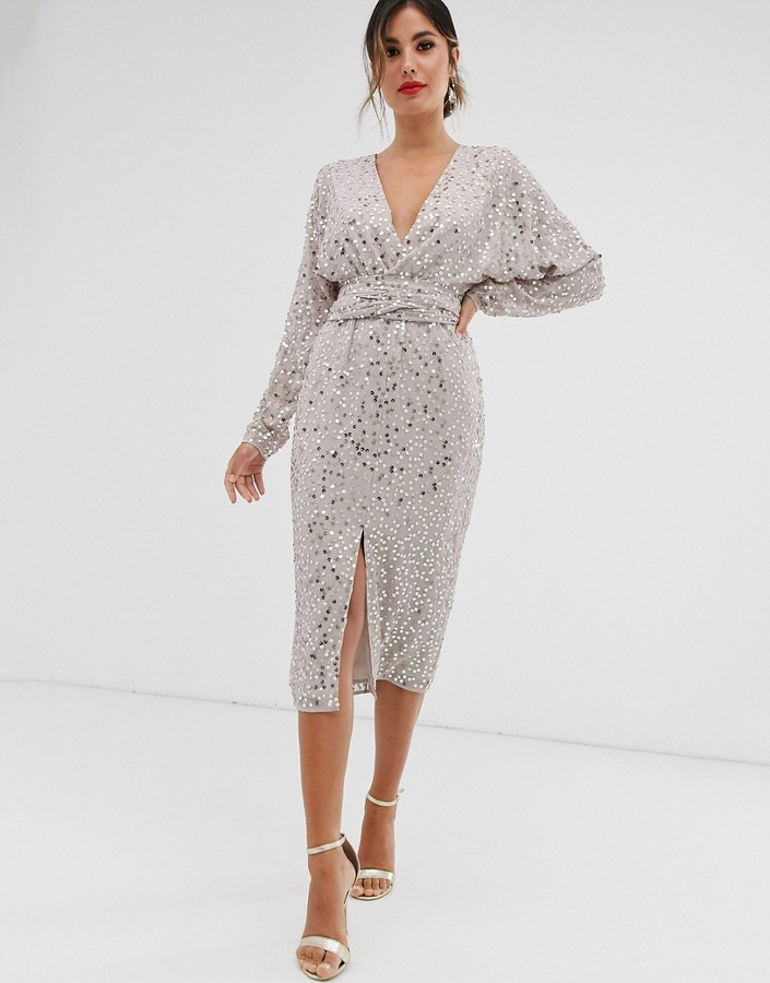 Asos Design ASOS DESIGN midi dress with batwing sleeve and wrap waist in scatter sequin