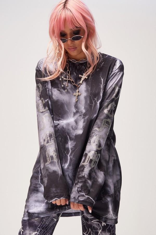 Womens **Diamante Venom T-Shirt By Jaded London - Black