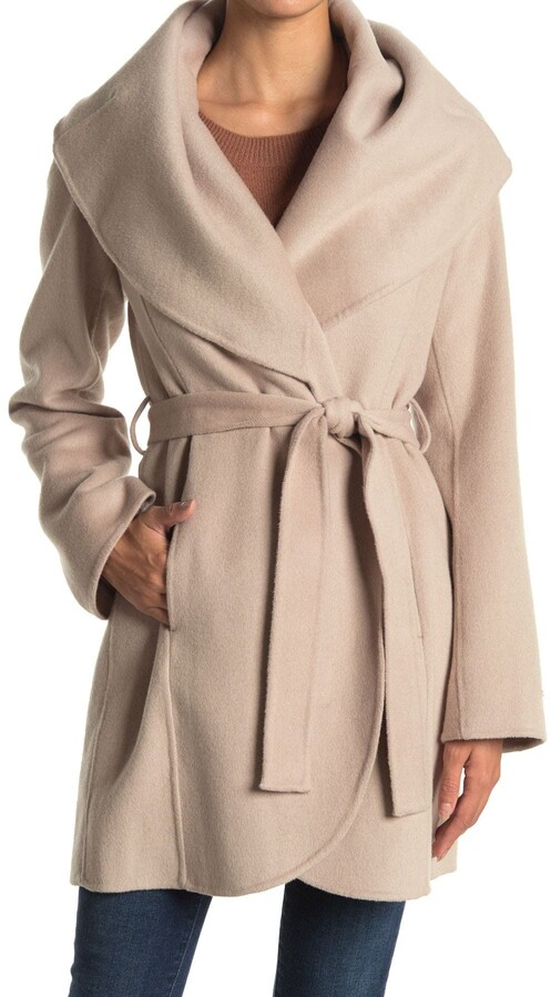 marilyn shawl collar tie waist wool blend coat