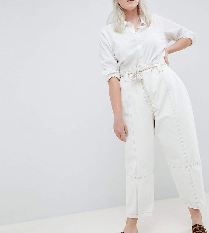 Asos Curve ASOS DESIGN Curve Paper Bag Waist Boyfriend Jeans With Rope Belt In White With Contrast Stitch