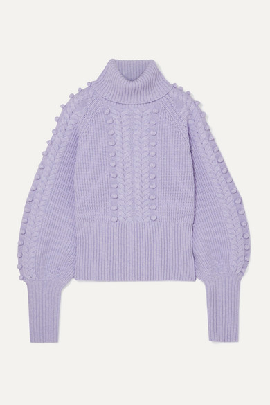 Temperley London - Chrissie Cable-knit Merino Wool Turtleneck Sweater - Lilac
