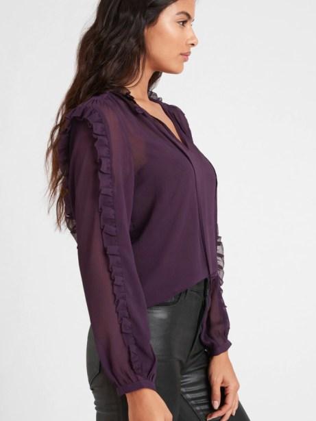 Banana Republic - plum ruffle sleeve blouse   hot Fall 2020 fashion