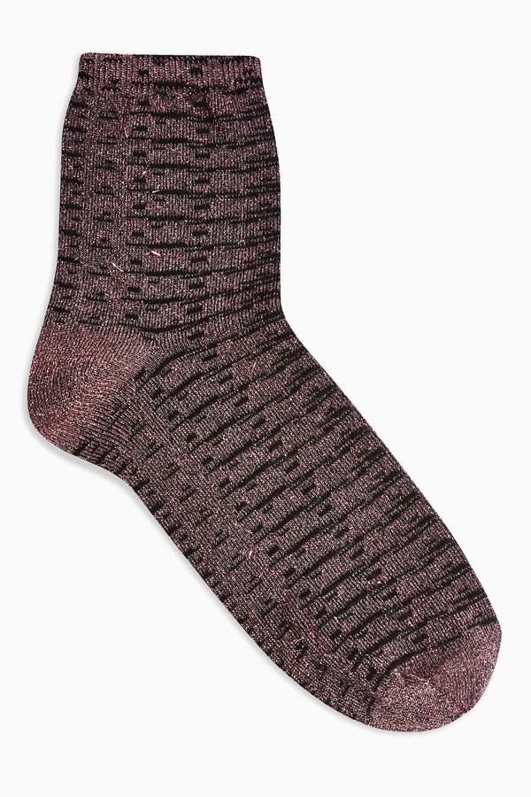 Womens Pink Grid Glitter Socks - Pink