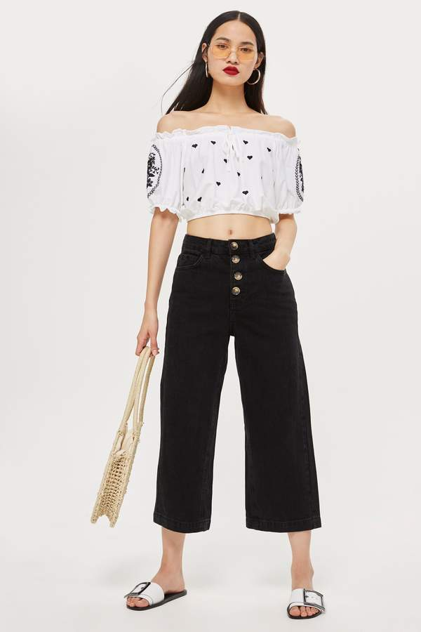 Topshop Womens Black Button Cropped Wide Leg Jeans - Indigo