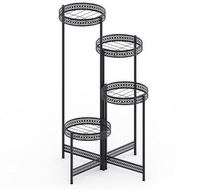 4 tier plant stand garden planter metal flower pot rack corner shelving indoor outdoor