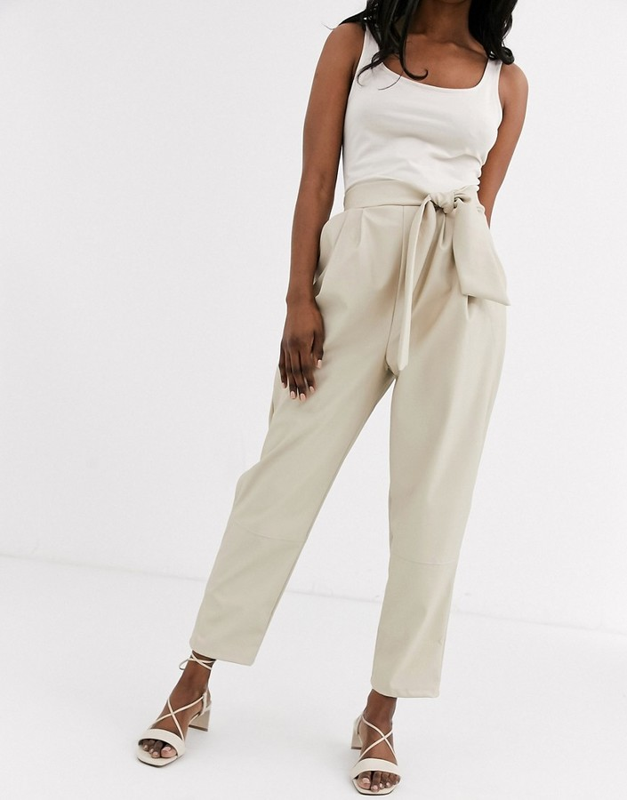 ASOS DESIGN leather look trouser with twist waist detail