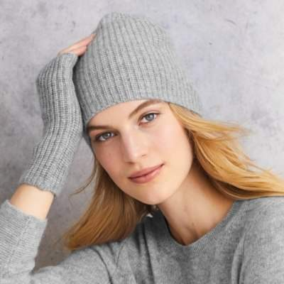 The White Company Cashmere Rib Beanie Hat