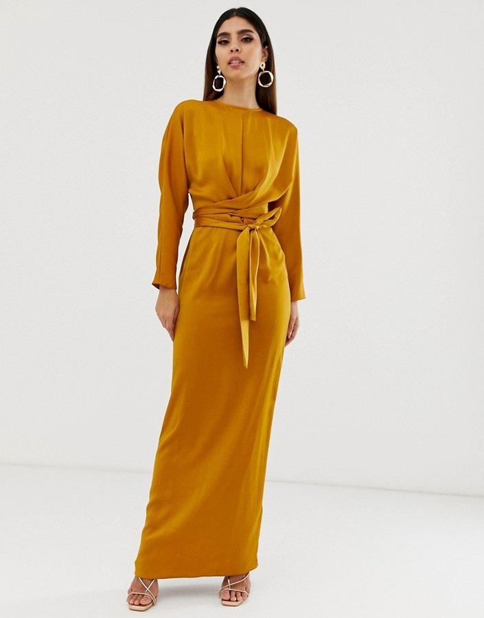 ASOS DESIGN maxi dress with batwing sleeve and wrap waist in satin