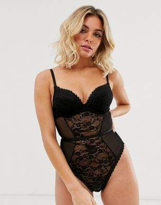 ASOS DESIGN Everly lace padded plunge underwire body
