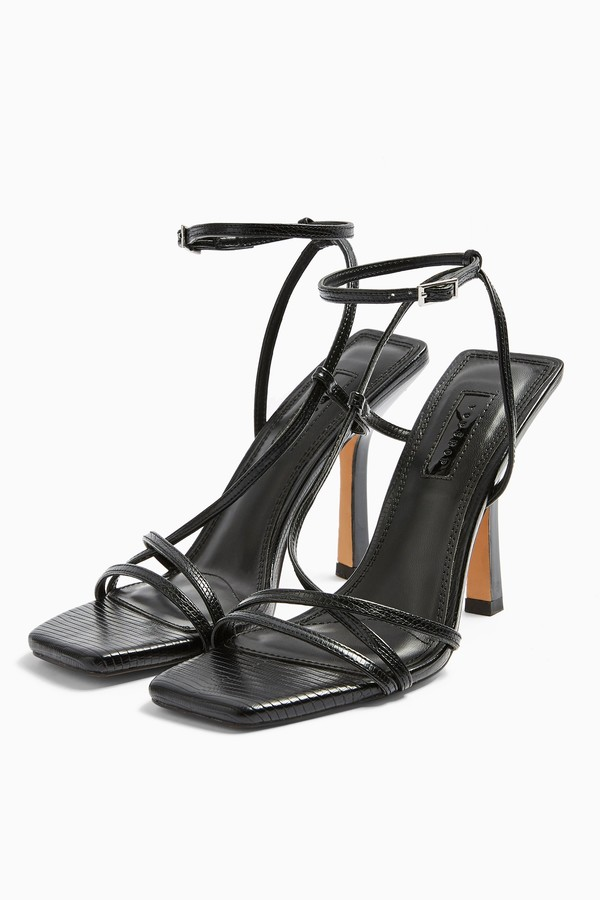 Womens Idol Ritz Black Strap High Heels - Black