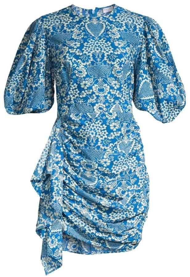 Rhode Pia Tapestry Print Puff Sleeve Mini Dress