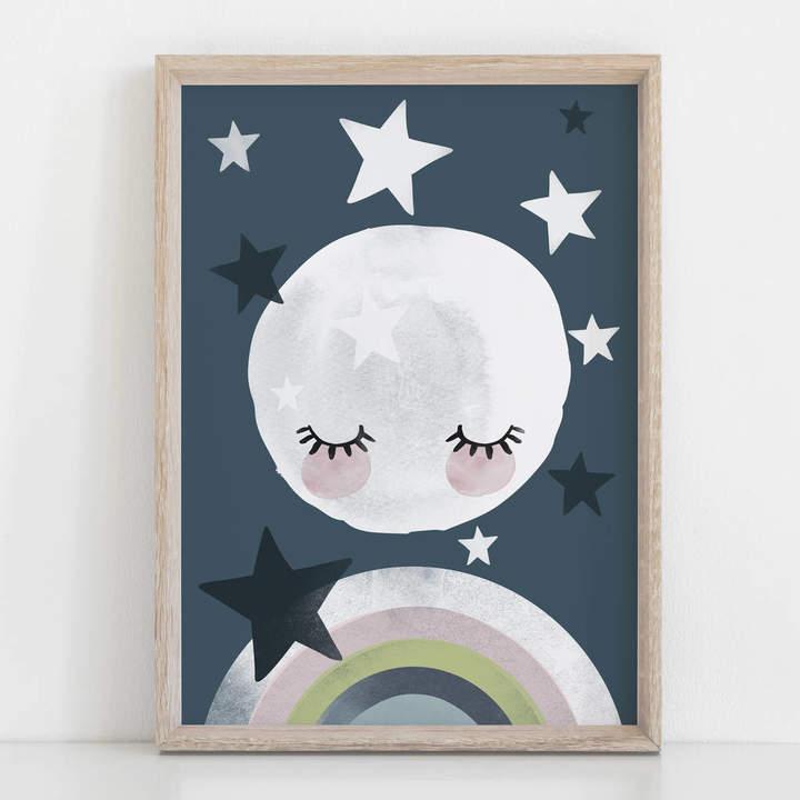 Rory & The Bean Rainbow Moon Children's Nursery Print