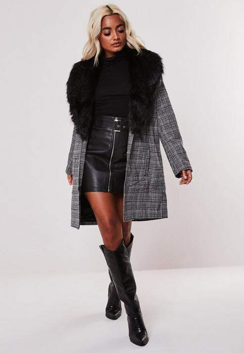 Missguided Petite Gray Faux Fur Collar Checked Coat