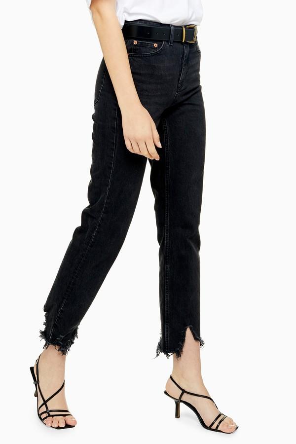 Topshop Womens Washed Black Jagged Hem Jeans - Washed Black