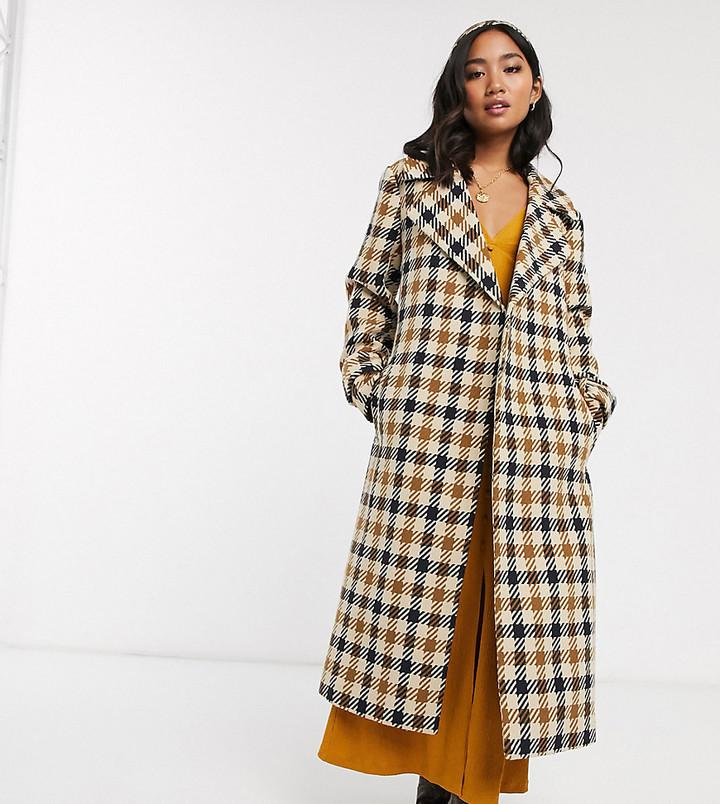 Asos Petite ASOS DESIGN Petite check belted coat-Multi