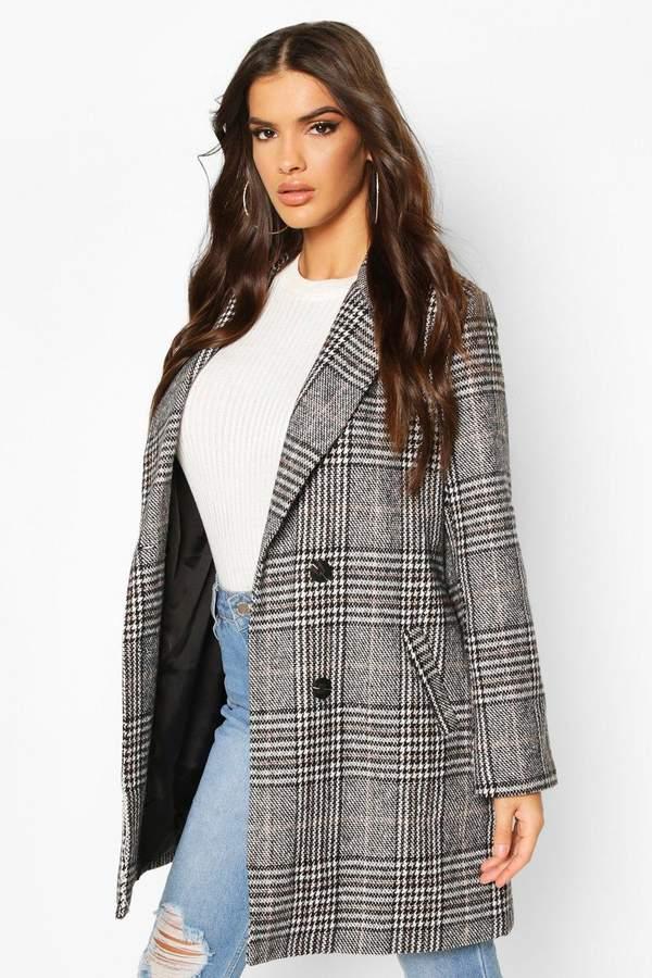 flannel Oversized Boyfriend Wool Look Coat