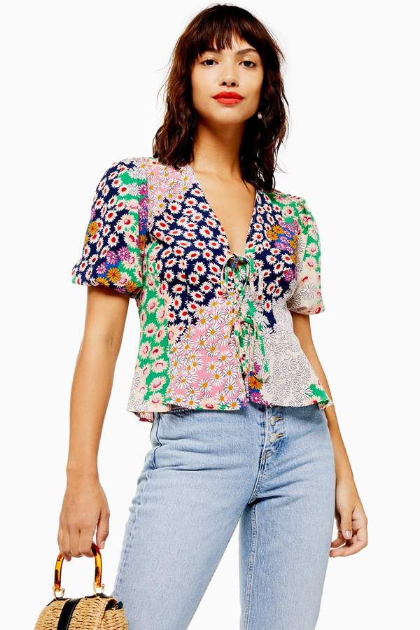 Mixed Floral Double Tie Top