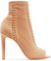 Gianvito Rossi - Vires 105 Peep-toe Perforated Stretch-knit Ankle Boots - Sand