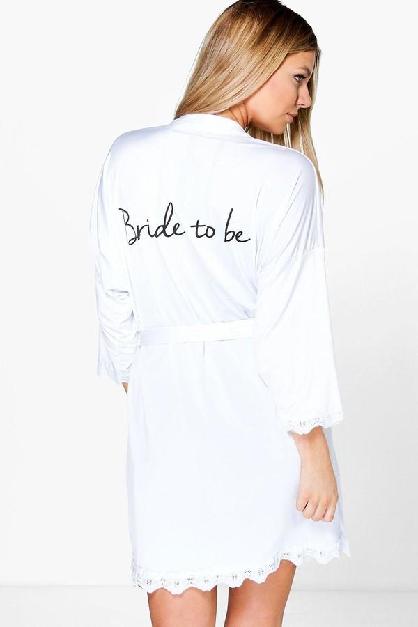 Boohoo Bride Slogan Slinky dressing gown