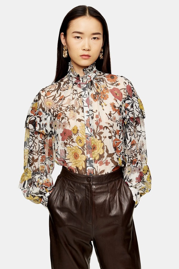 Topshop Womens Idol Double Ruffle Floral Print Blouse - Multi