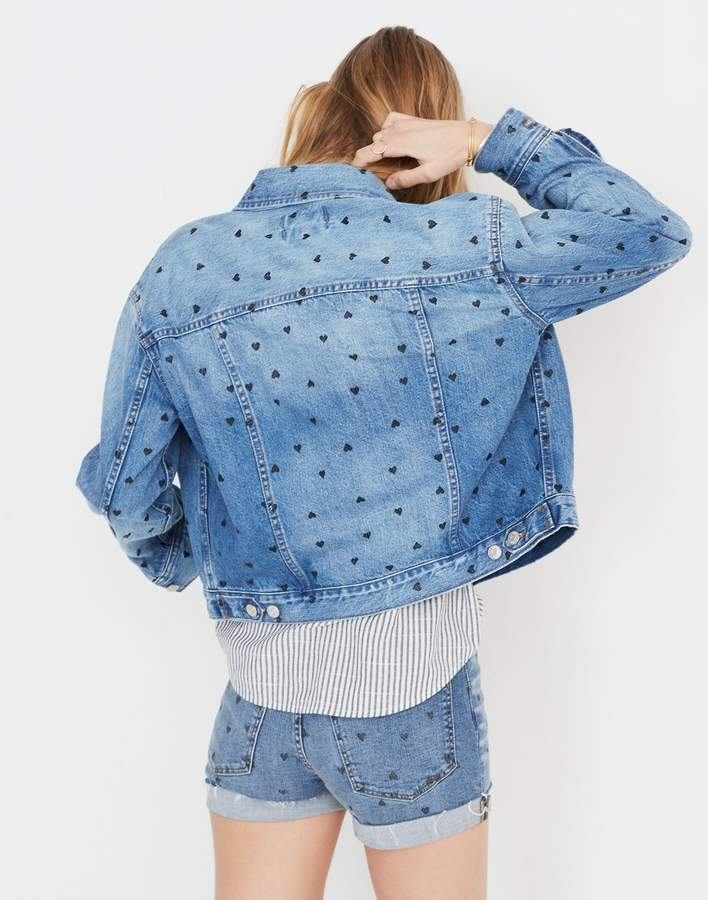 Madewell The Boxy-Crop Jean Jacket: Heart Print Edition