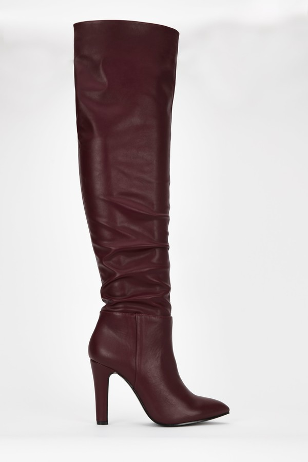 WallisWallis **Berry Ruched Over The Knee Boot