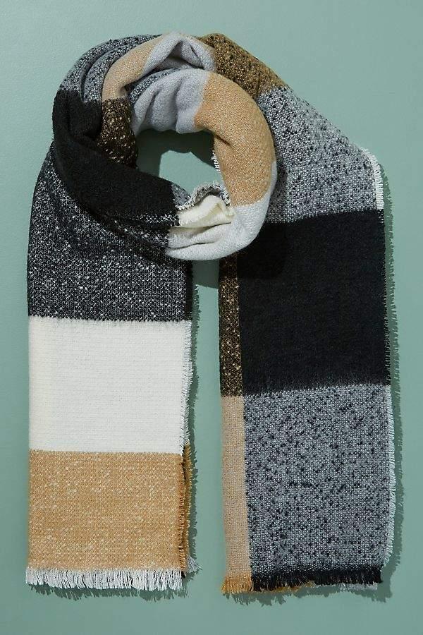 Colourblocked-Fringed Scarf