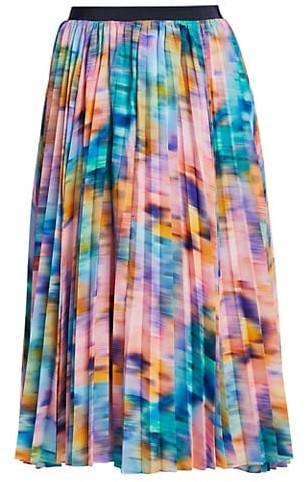 Tanya Taylor Primrose Pleated Printed Skirt