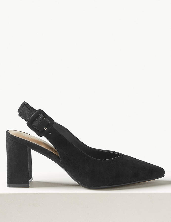 M&S CollectionMarks and Spencer Suede Block Heel Slingback Shoes