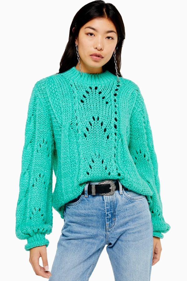 Womens Turquoise Knitted Lofty Jumper - Turquoise