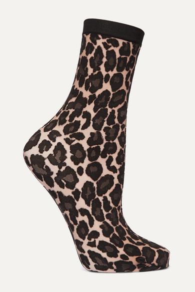 Wolford - Leopard-print Stretch-knit Socks - Black