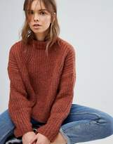 Bershka Cable Knitted Balloon Sleeve Jumper